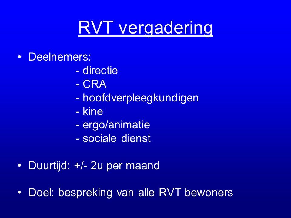 RVT vergadering •Deelnemers: - directie - CRA - hoofdverpleegkundigen - kine - ergo/animatie - sociale dienst •Duurtijd: +/- 2u per maand •Doel: bespr