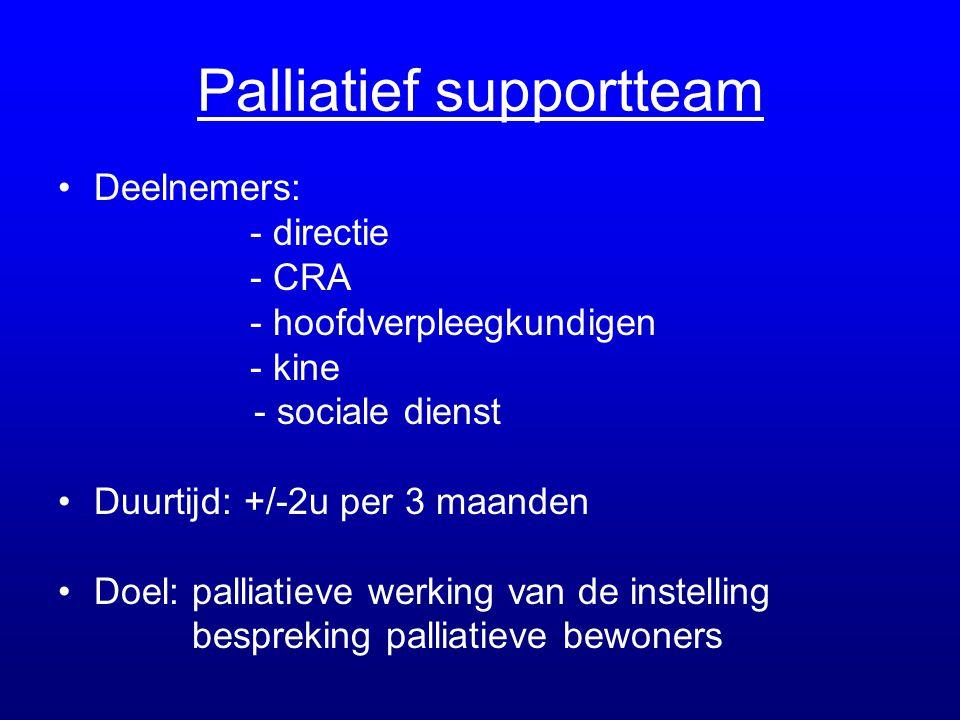 Palliatief supportteam •Deelnemers: - directie - CRA - hoofdverpleegkundigen - kine - sociale dienst •Duurtijd: +/-2u per 3 maanden •Doel: palliatieve