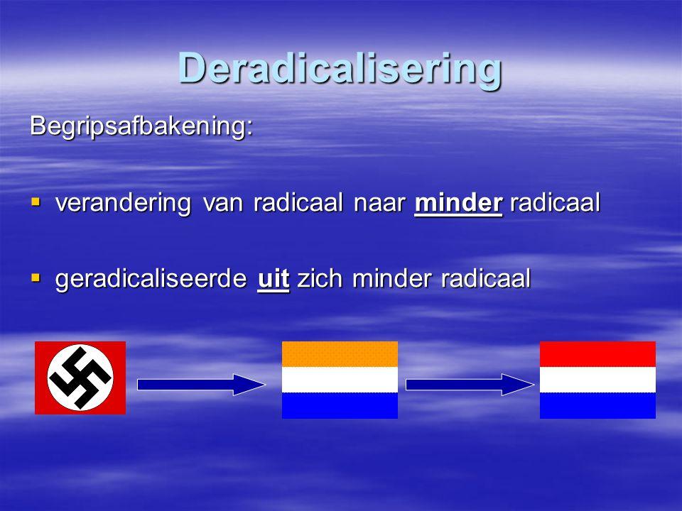 Deradicalisering Begripsafbakening:  verandering van radicaal naar minder radicaal  geradicaliseerde uit zich minder radicaal