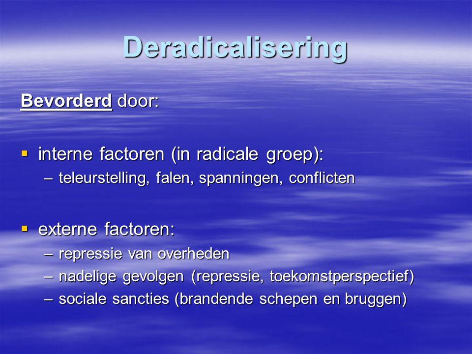 Deradicalisering Bevorderd door:  interne factoren (in radicale groep): –teleurstelling, falen, spanningen, conflicten  externe factoren: –repressie