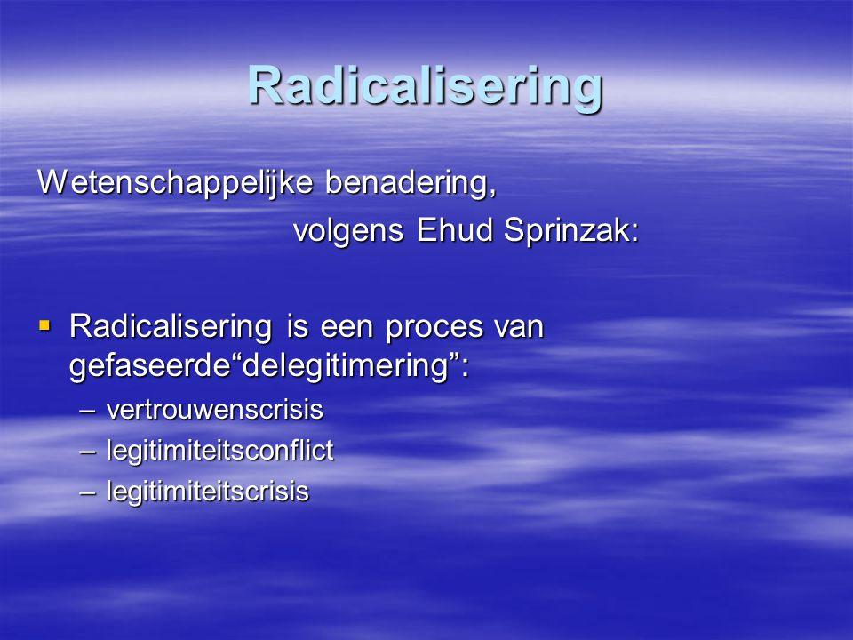 """Radicalisering Wetenschappelijke benadering, volgens Ehud Sprinzak:  Radicalisering is een proces van gefaseerde""""delegitimering"""": –vertrouwenscrisis"""