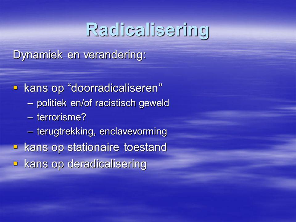 """Radicalisering Dynamiek en verandering:  kans op """"doorradicaliseren"""" –politiek en/of racistisch geweld –terrorisme? –terugtrekking, enclavevorming """