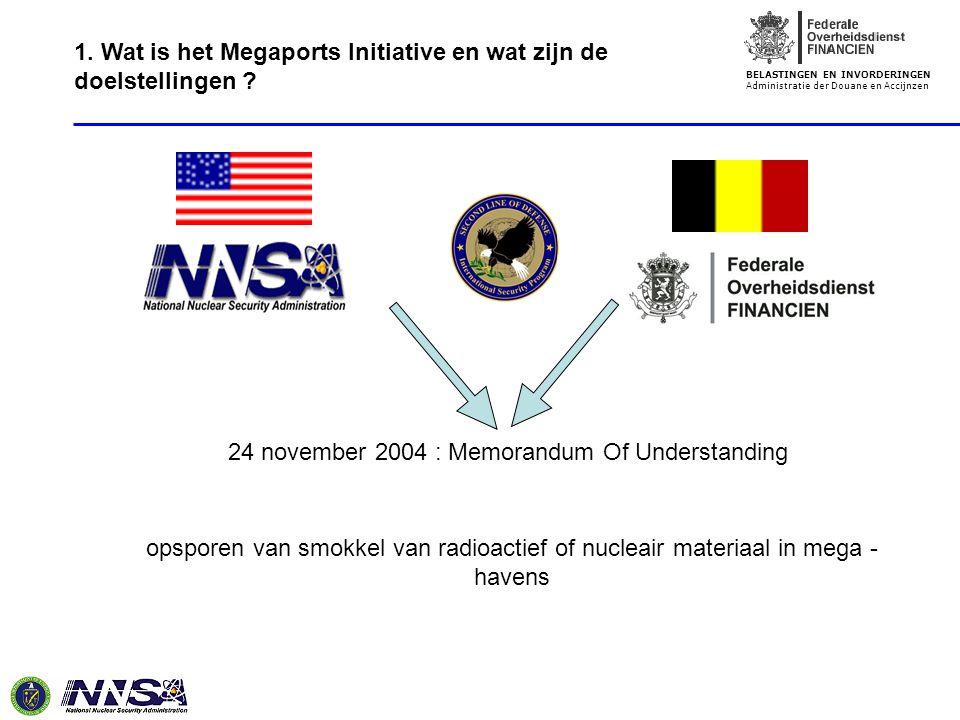 BELASTINGEN EN INVORDERINGEN Administratie der Douane en Accijnzen 24 november 2004 : Memorandum Of Understanding opsporen van smokkel van radioactief