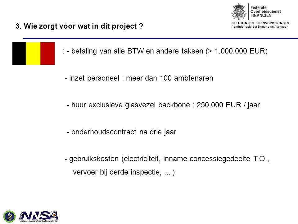 BELASTINGEN EN INVORDERINGEN Administratie der Douane en Accijnzen : - betaling van alle BTW en andere taksen (> 1.000.000 EUR) - inzet personeel : me