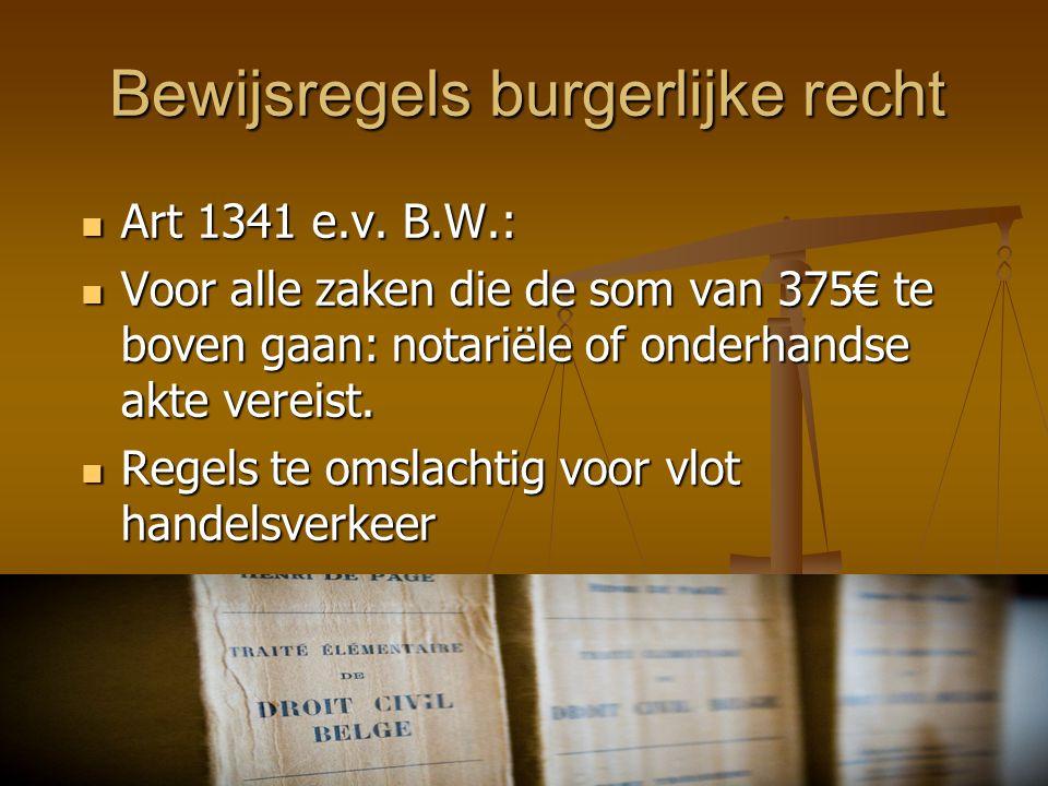 Bewijsregels burgerlijke recht  Art 1341 e.v. B.W.:  Voor alle zaken die de som van 375€ te boven gaan: notariële of onderhandse akte vereist.  Reg