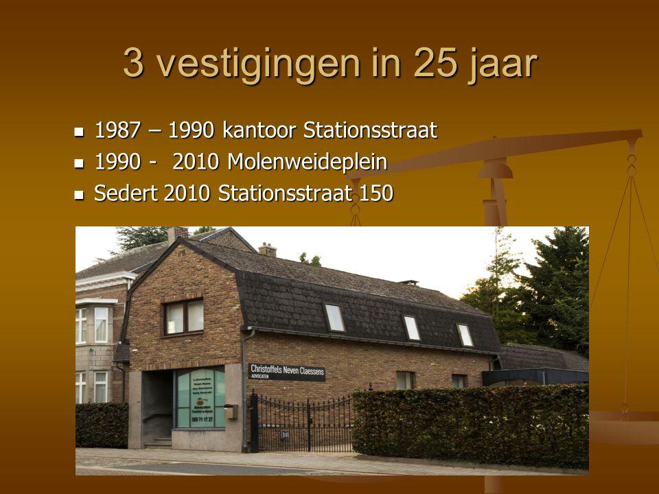 3 vestigingen in 25 jaar  1987 – 1990 kantoor Stationsstraat  1990 - 2010 Molenweideplein  Sedert 2010 Stationsstraat 150