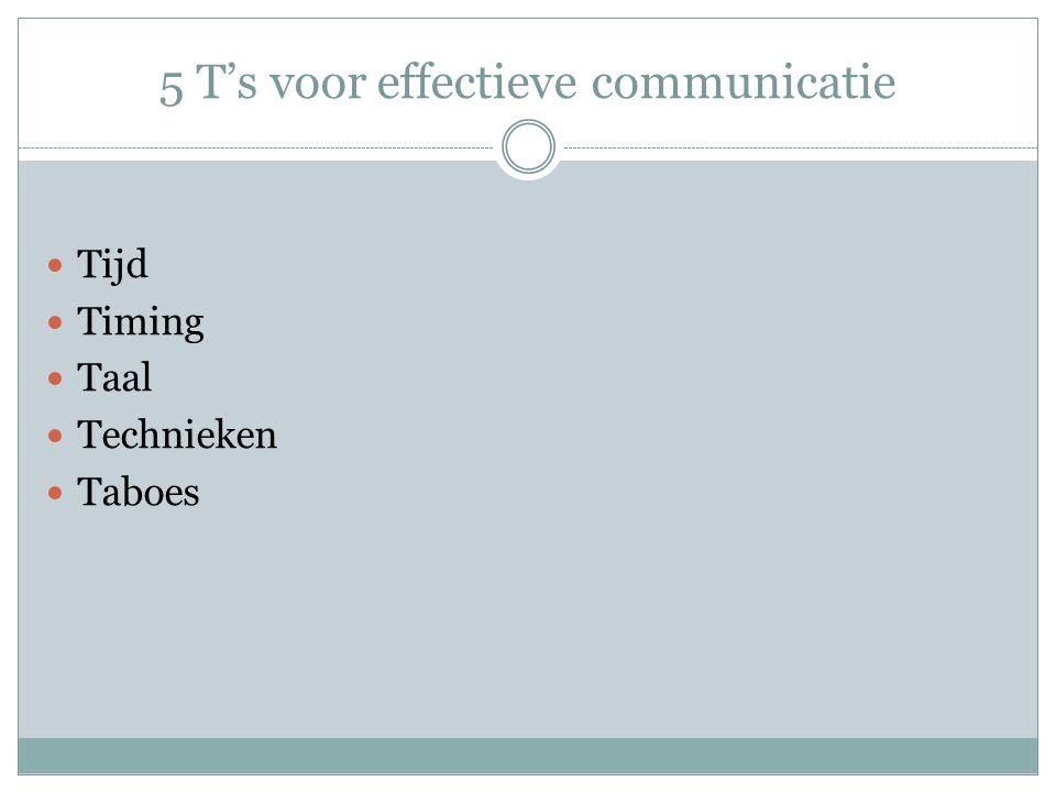 5 T's voor effectieve communicatie  Tijd  Timing  Taal  Technieken  Taboes