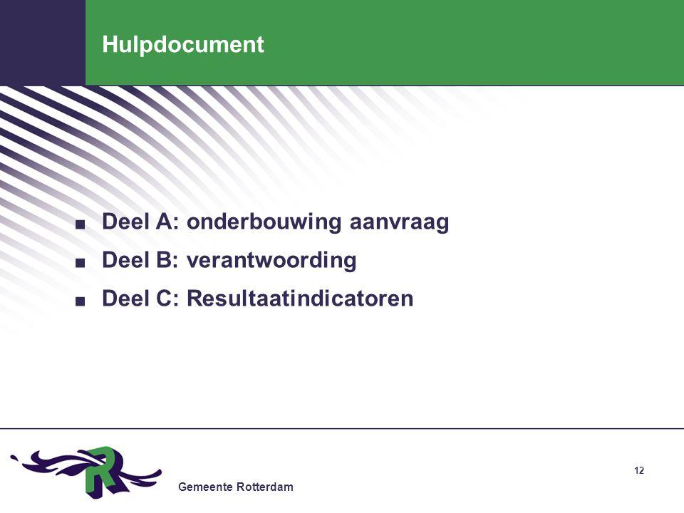 Gemeente Rotterdam 12 Hulpdocument.Deel A: onderbouwing aanvraag.