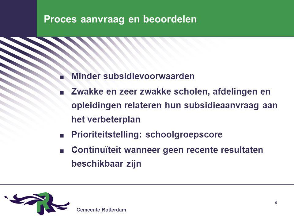 Gemeente Rotterdam 44 Proces aanvraag en beoordelen. Minder subsidievoorwaarden. Zwakke en zeer zwakke scholen, afdelingen en opleidingen relateren hu