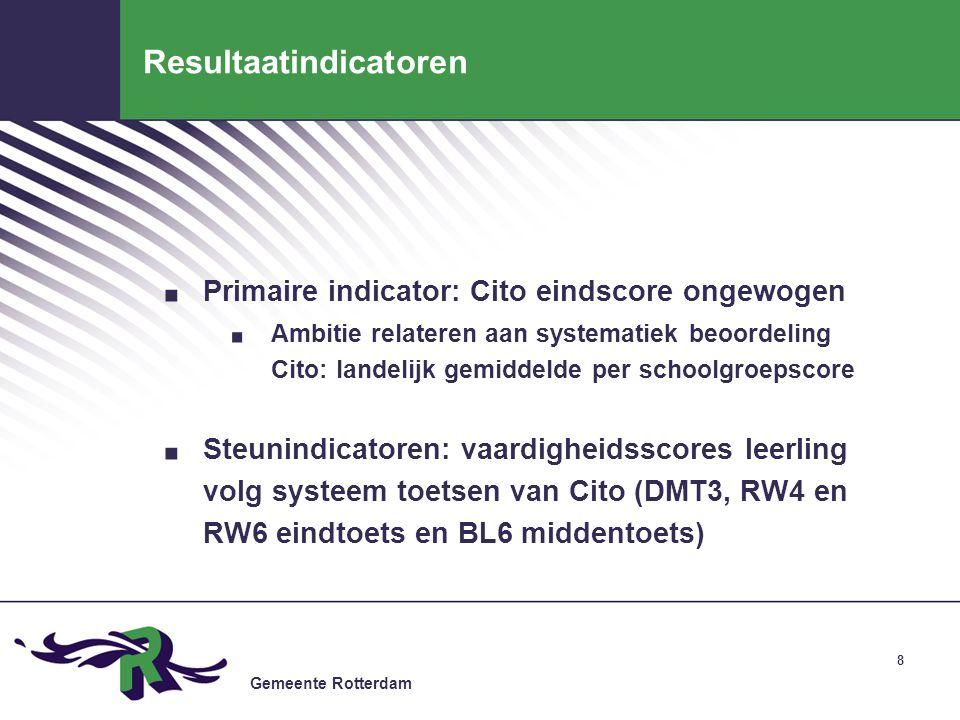 Gemeente Rotterdam 8 Resultaatindicatoren. Primaire indicator: Cito eindscore ongewogen. Ambitie relateren aan systematiek beoordeling Cito: landelijk