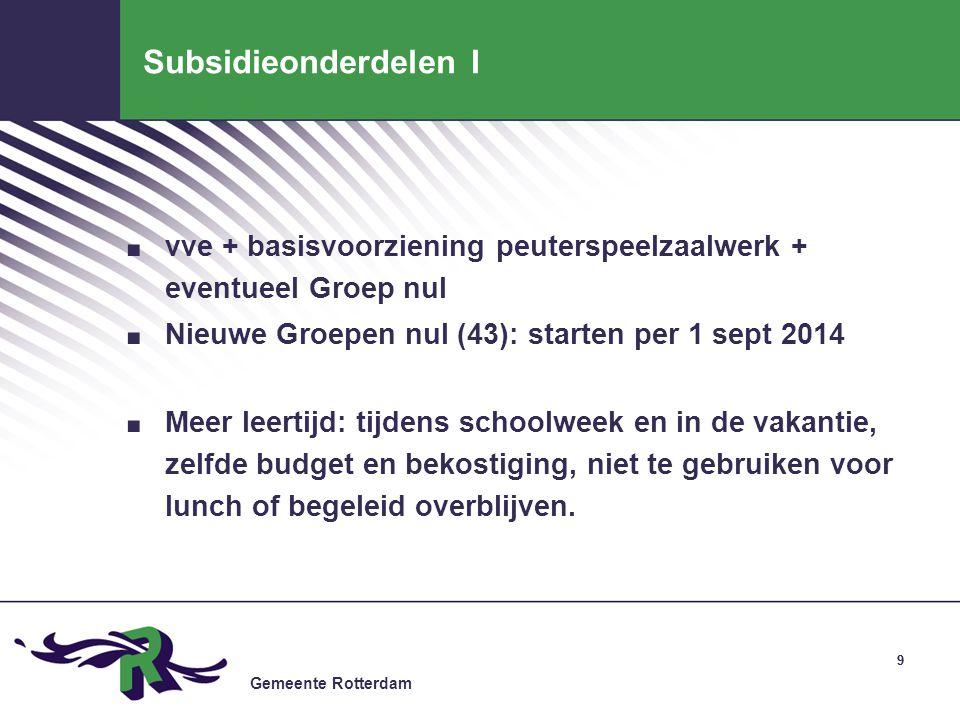 Gemeente Rotterdam 99 Subsidieonderdelen I. vve + basisvoorziening peuterspeelzaalwerk + eventueel Groep nul. Nieuwe Groepen nul (43): starten per 1 s