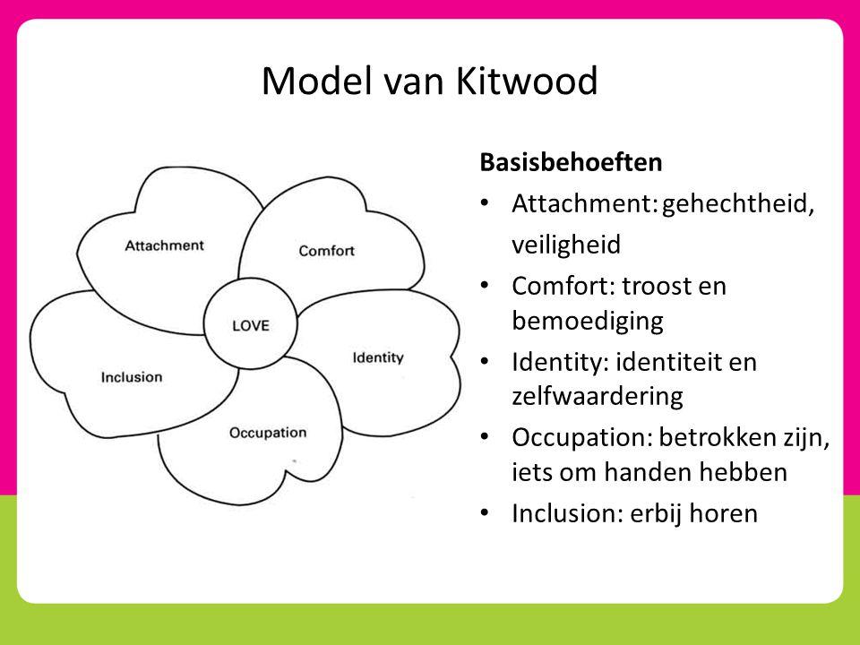 Model van Kitwood Basisbehoeften • Attachment: gehechtheid, veiligheid • Comfort: troost en bemoediging • Identity: identiteit en zelfwaardering • Occ