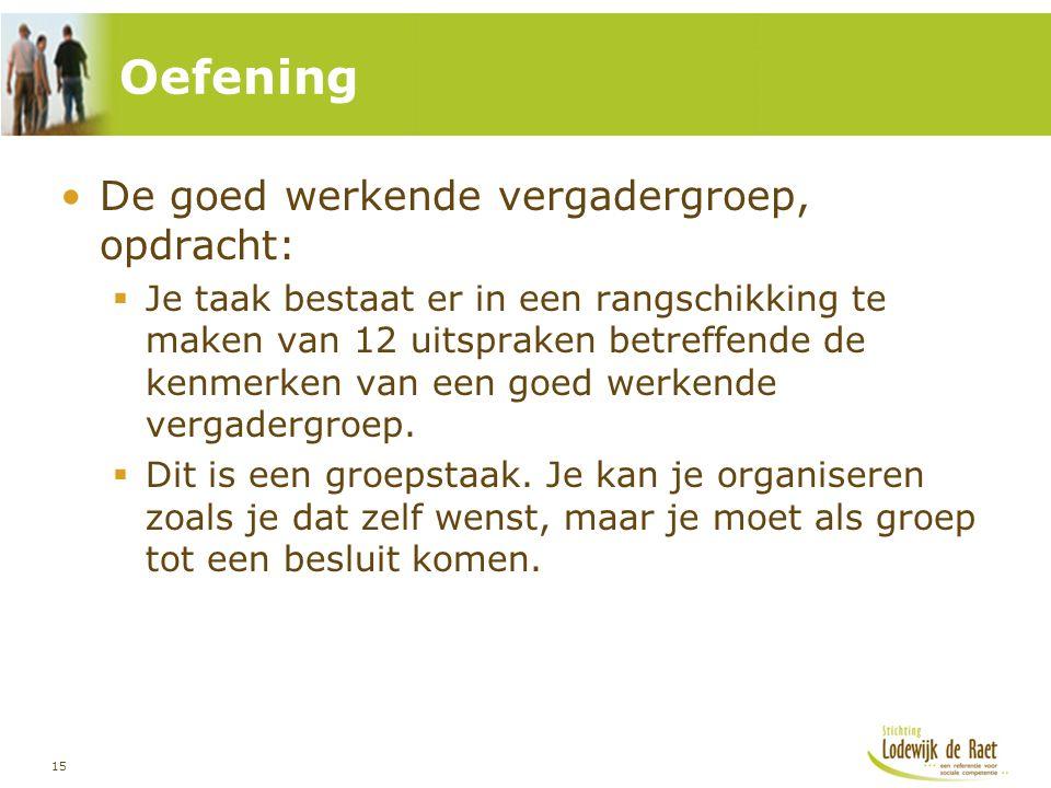 15 •De goed werkende vergadergroep, opdracht:  Je taak bestaat er in een rangschikking te maken van 12 uitspraken betreffende de kenmerken van een go