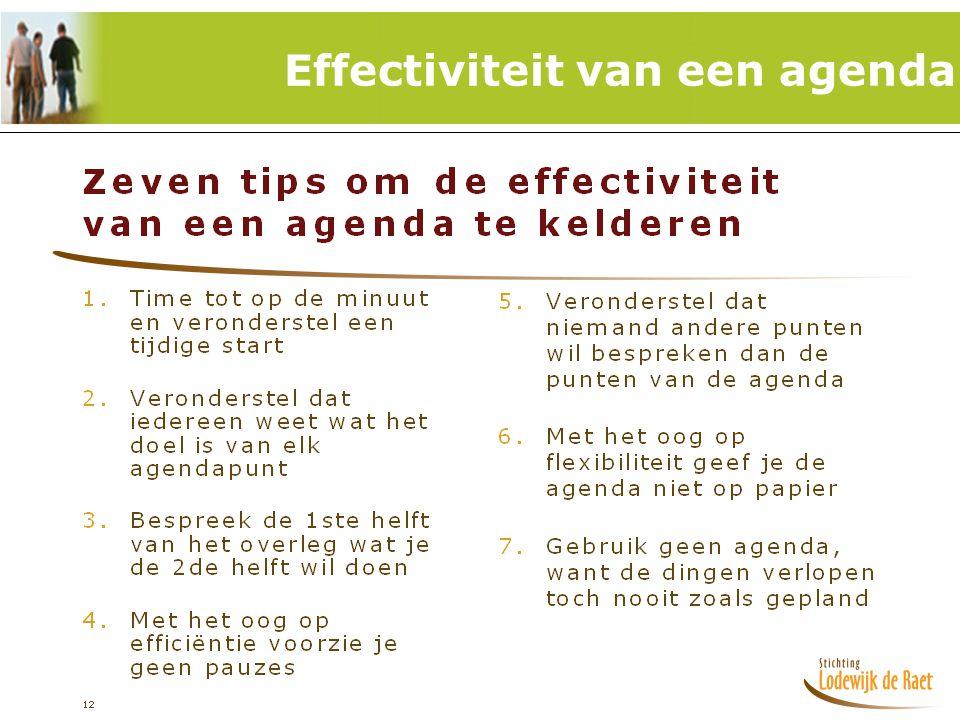 19 Effectiviteit van een agenda