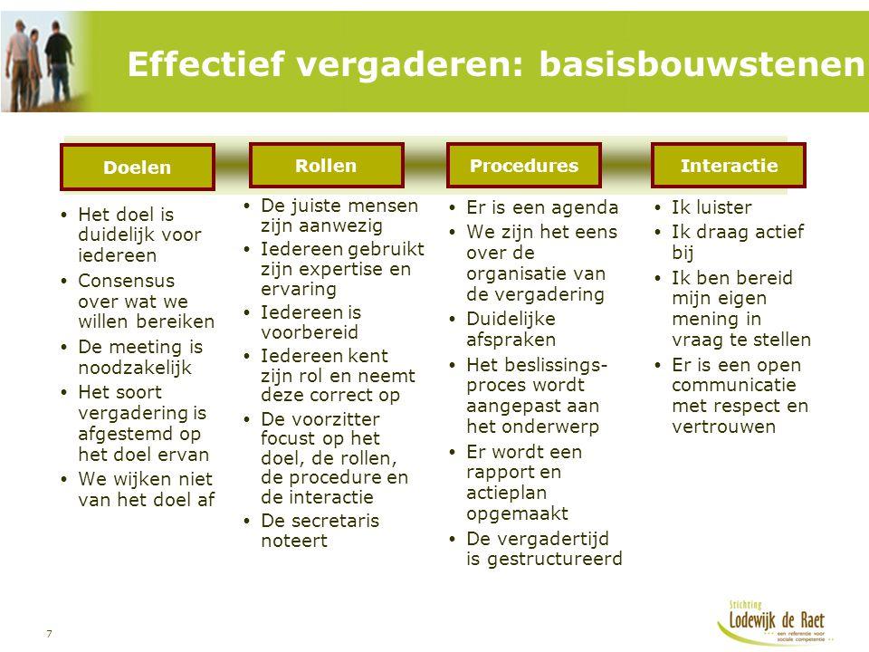 7 Effectief vergaderen: basisbouwstenen  Het doel is duidelijk voor iedereen  Consensus over wat we willen bereiken  De meeting is noodzakelijk  H