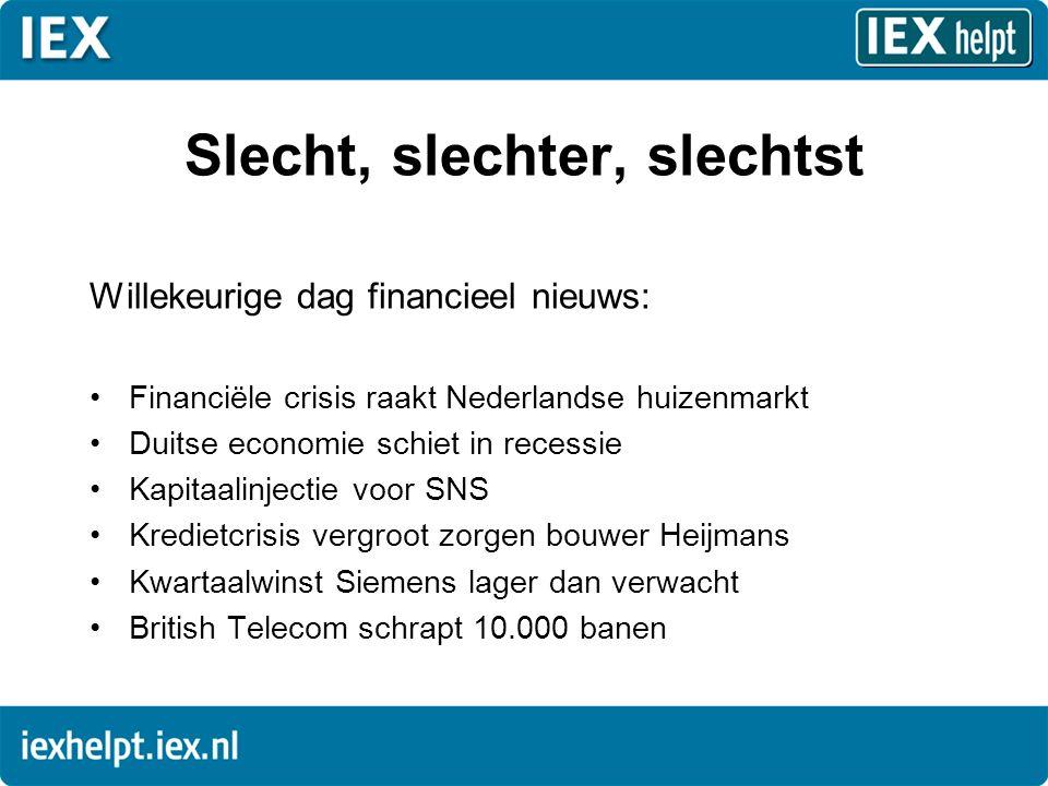Slecht, slechter, slechtst Willekeurige dag financieel nieuws: •Financiële crisis raakt Nederlandse huizenmarkt •Duitse economie schiet in recessie •Kapitaalinjectie voor SNS •Kredietcrisis vergroot zorgen bouwer Heijmans •Kwartaalwinst Siemens lager dan verwacht •British Telecom schrapt 10.000 banen