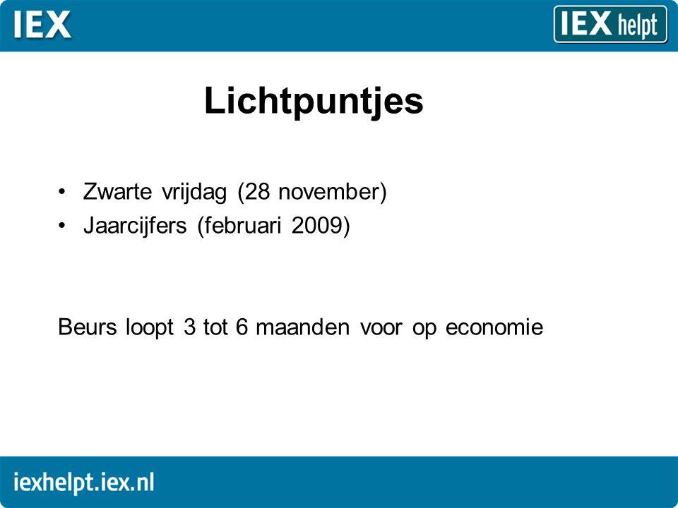 Lichtpuntjes •Zwarte vrijdag (28 november) •Jaarcijfers (februari 2009) Beurs loopt 3 tot 6 maanden voor op economie
