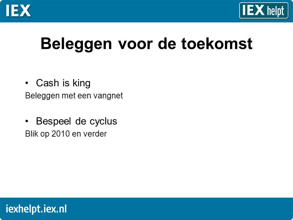 Beleggen voor de toekomst •Cash is king Beleggen met een vangnet •Bespeel de cyclus Blik op 2010 en verder