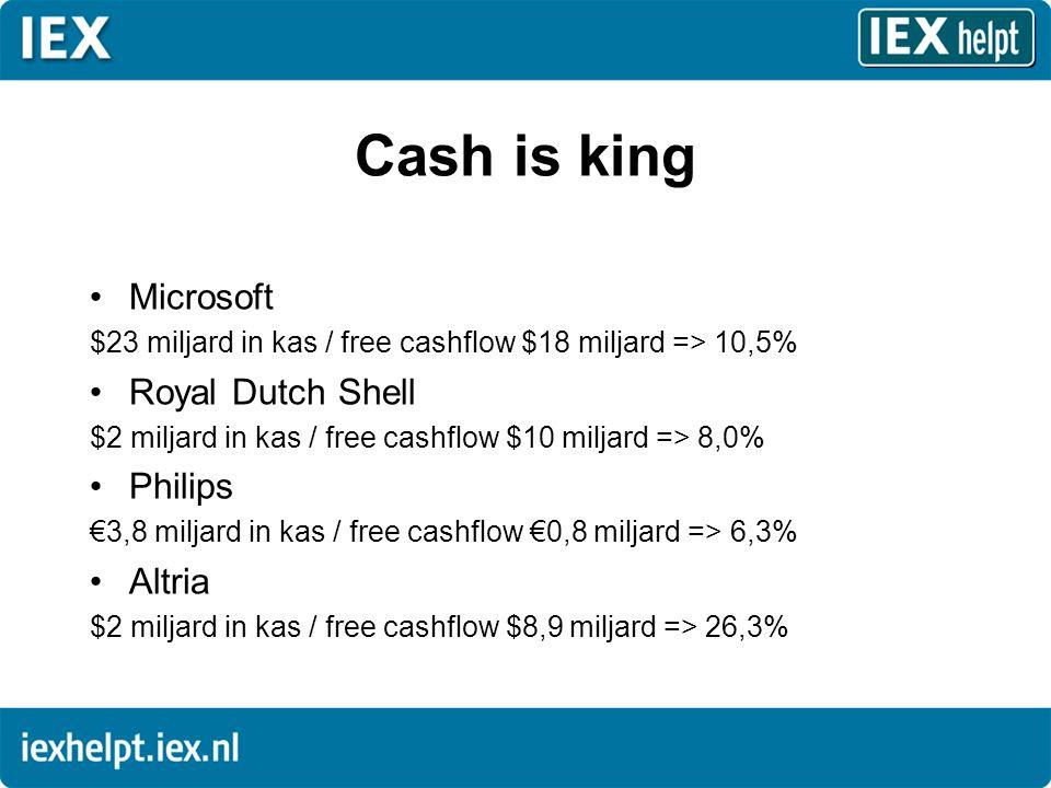 Cash is king •Microsoft $23 miljard in kas / free cashflow $18 miljard => 10,5% •Royal Dutch Shell $2 miljard in kas / free cashflow $10 miljard => 8,0% •Philips €3,8 miljard in kas / free cashflow €0,8 miljard => 6,3% •Altria $2 miljard in kas / free cashflow $8,9 miljard => 26,3%