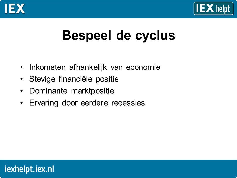Bespeel de cyclus •Inkomsten afhankelijk van economie •Stevige financiële positie •Dominante marktpositie •Ervaring door eerdere recessies