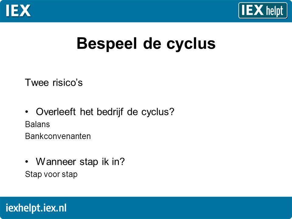Bespeel de cyclus Twee risico's •Overleeft het bedrijf de cyclus.