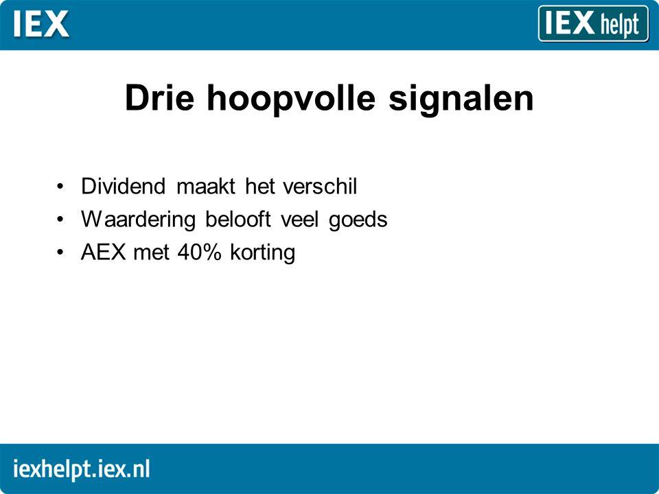 Drie hoopvolle signalen •Dividend maakt het verschil •Waardering belooft veel goeds •AEX met 40% korting