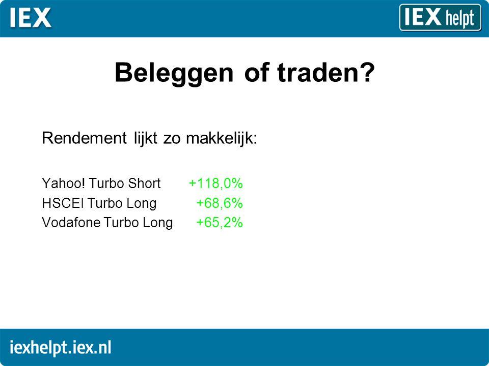Beleggen of traden? Rendement lijkt zo makkelijk: Yahoo! Turbo Short+118,0% HSCEI Turbo Long +68,6% Vodafone Turbo Long +65,2%