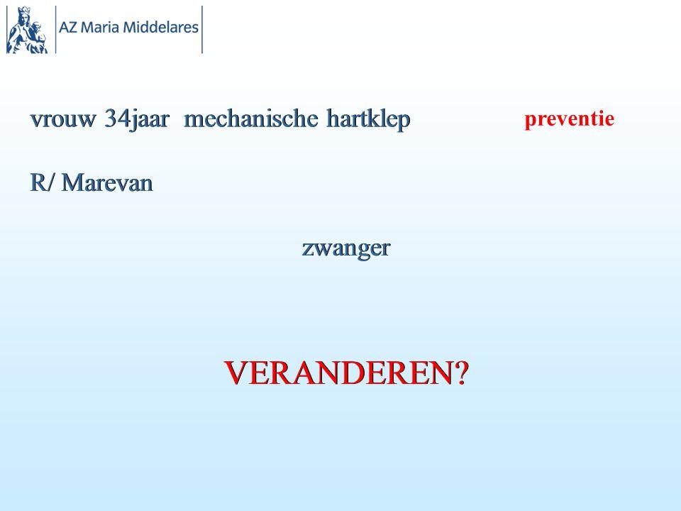 vrouw 34jaar mechanische hartklep R/ Marevan zwanger VERANDEREN? preventie