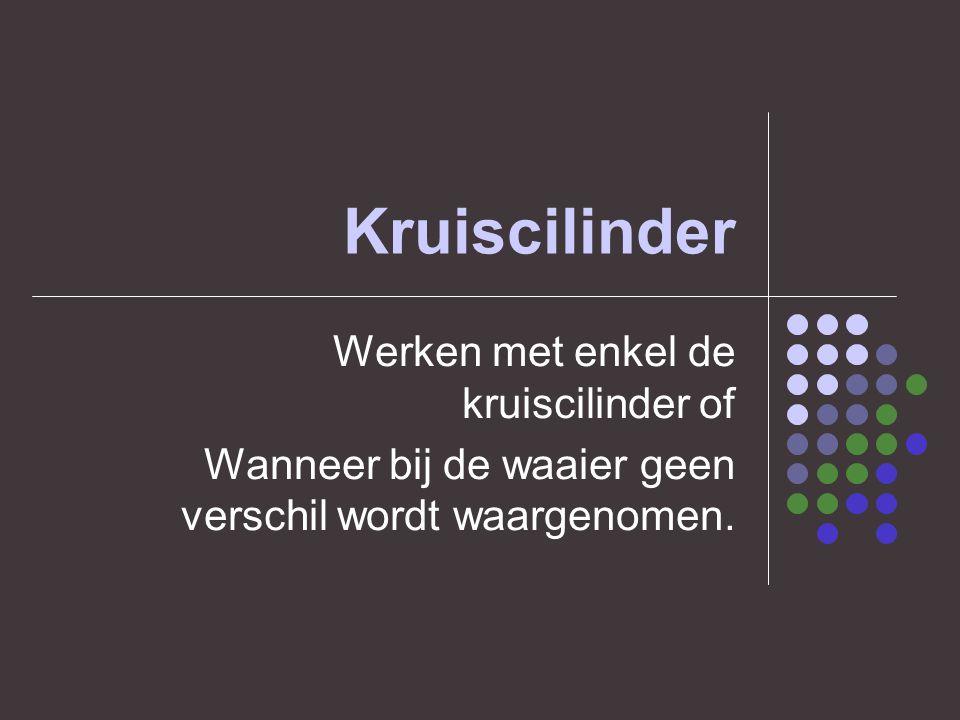 Kruiscilinder Werken met enkel de kruiscilinder of Wanneer bij de waaier geen verschil wordt waargenomen.