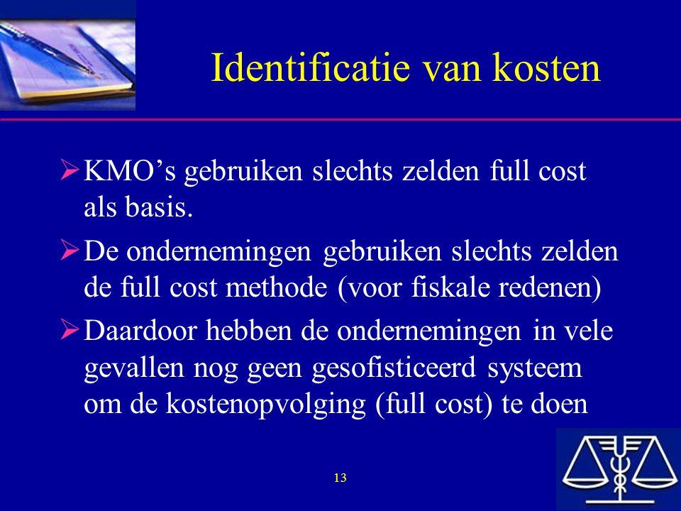 13 Identificatie van kosten  KMO's gebruiken slechts zelden full cost als basis.  De ondernemingen gebruiken slechts zelden de full cost methode (vo