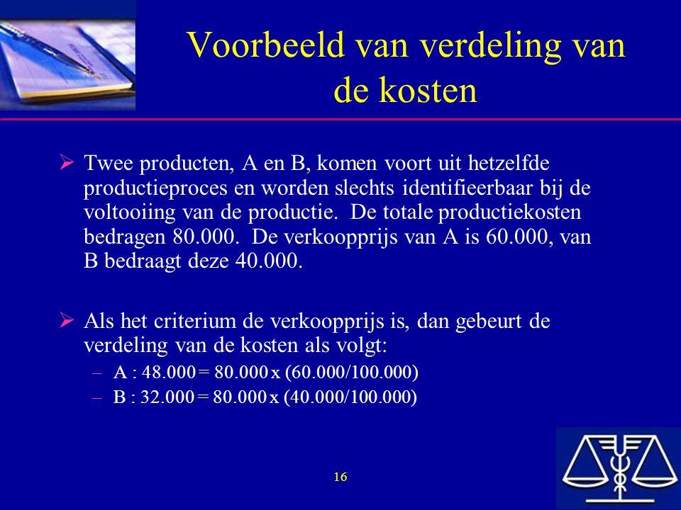 16 Voorbeeld van verdeling van de kosten  Twee producten, A en B, komen voort uit hetzelfde productieproces en worden slechts identifieerbaar bij de