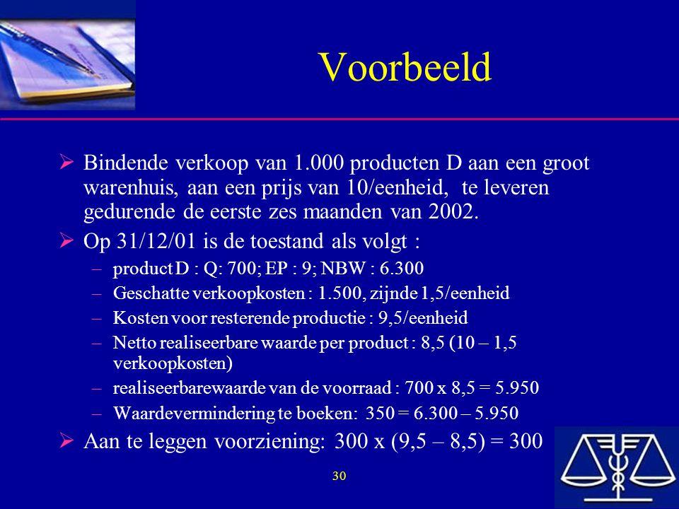 30 Voorbeeld  Bindende verkoop van 1.000 producten D aan een groot warenhuis, aan een prijs van 10/eenheid, te leveren gedurende de eerste zes maande