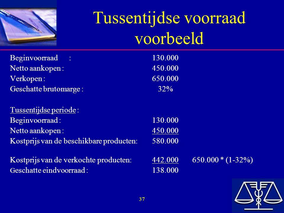 37 Tussentijdse voorraad voorbeeld Beginvoorraad :130.000 Netto aankopen :450.000 Verkopen :650.000 Geschatte brutomarge : 32% Tussentijdse periode :
