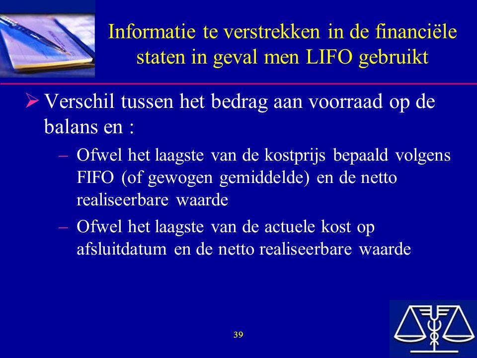39 Informatie te verstrekken in de financiële staten in geval men LIFO gebruikt  Verschil tussen het bedrag aan voorraad op de balans en : –Ofwel het