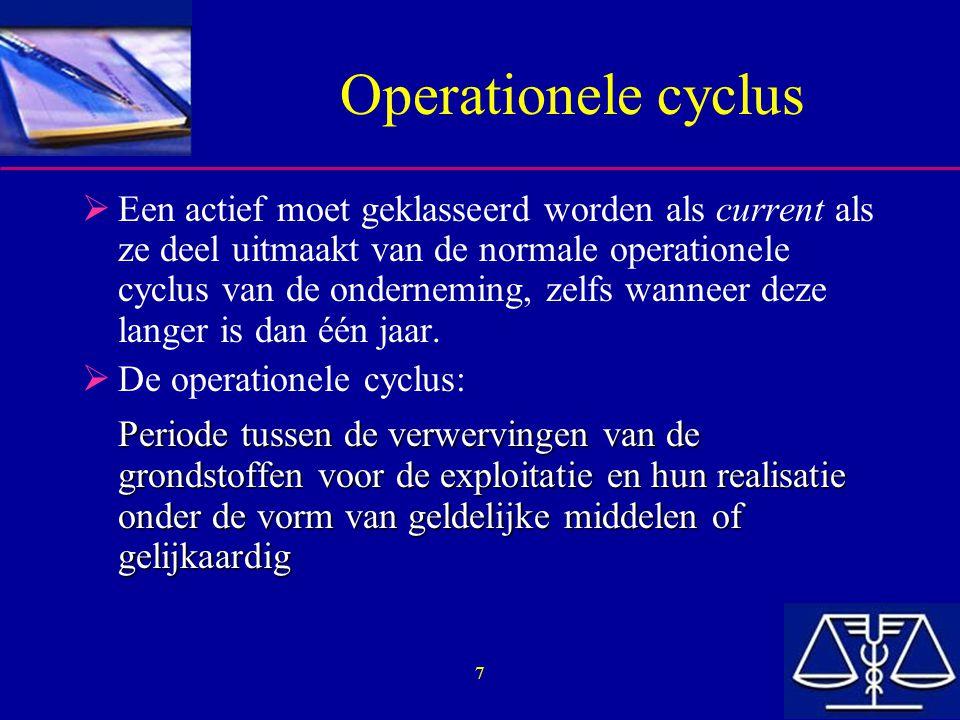 7 Operationele cyclus  Een actief moet geklasseerd worden als current als ze deel uitmaakt van de normale operationele cyclus van de onderneming, zel
