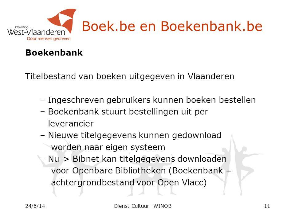 Boek.be en Boekenbank.be Boekenbank Titelbestand van boeken uitgegeven in Vlaanderen – Ingeschreven gebruikers kunnen boeken bestellen – Boekenbank stuurt bestellingen uit per leverancier – Nieuwe titelgegevens kunnen gedownload worden naar eigen systeem – Nu-> Bibnet kan titelgegevens downloaden voor Openbare Bibliotheken (Boekenbank = achtergrondbestand voor Open Vlacc) 24/6/14Dienst Cultuur -WINOB11