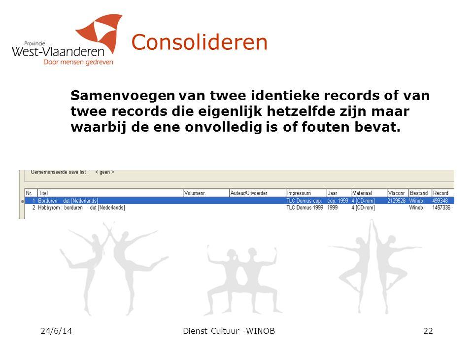 Consolideren Samenvoegen van twee identieke records of van twee records die eigenlijk hetzelfde zijn maar waarbij de ene onvolledig is of fouten bevat.