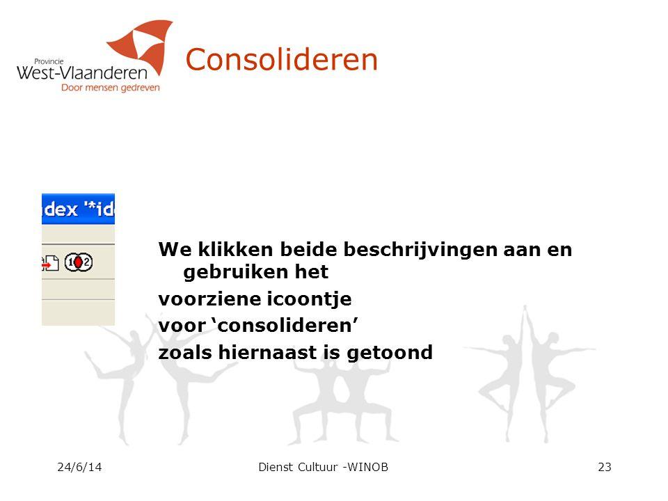 Consolideren We klikken beide beschrijvingen aan en gebruiken het voorziene icoontje voor 'consolideren' zoals hiernaast is getoond 24/6/14Dienst Cultuur -WINOB23