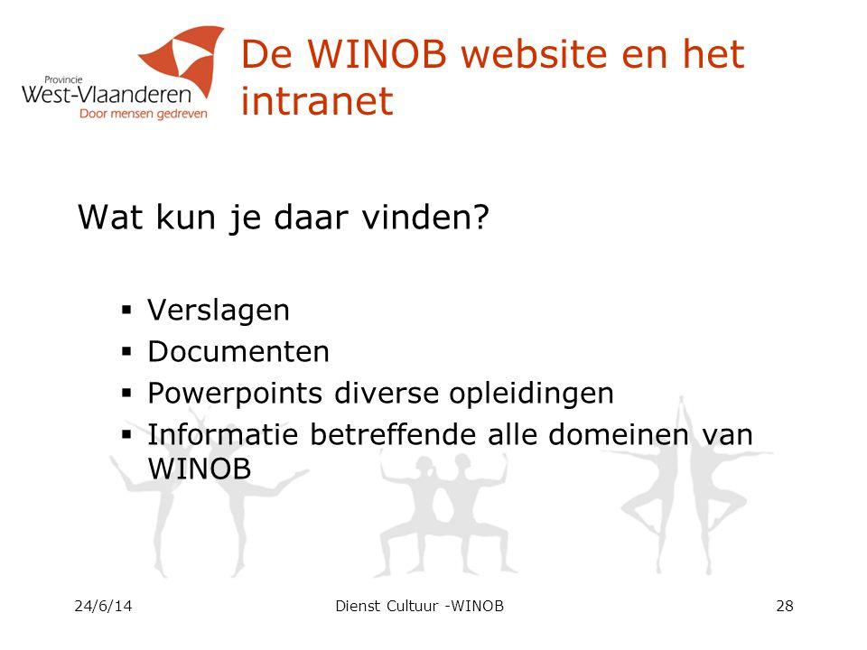 De WINOB website en het intranet Wat kun je daar vinden.