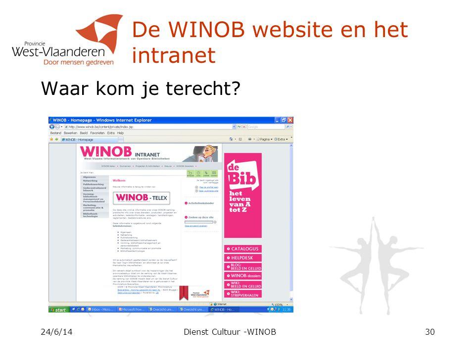 De WINOB website en het intranet Waar kom je terecht 24/6/14Dienst Cultuur -WINOB30
