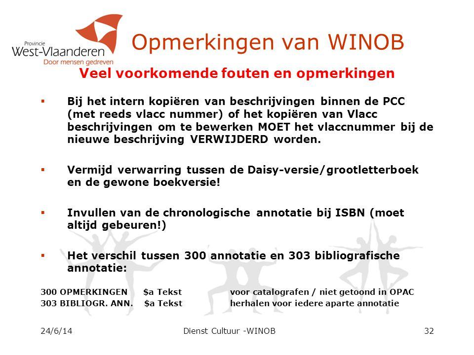 Opmerkingen van WINOB 24/6/14Dienst Cultuur -WINOB32 Veel voorkomende fouten en opmerkingen  Bij het intern kopiëren van beschrijvingen binnen de PCC (met reeds vlacc nummer) of het kopiëren van Vlacc beschrijvingen om te bewerken MOET het vlaccnummer bij de nieuwe beschrijving VERWIJDERD worden.