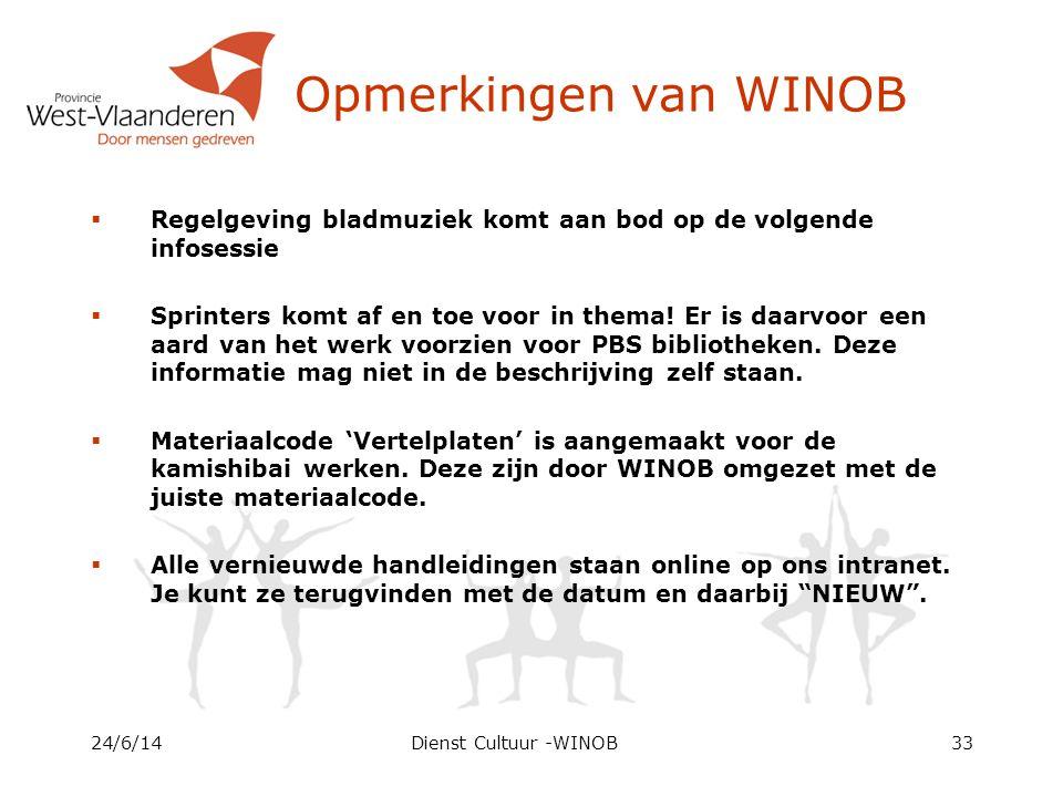 Opmerkingen van WINOB  Regelgeving bladmuziek komt aan bod op de volgende infosessie  Sprinters komt af en toe voor in thema.