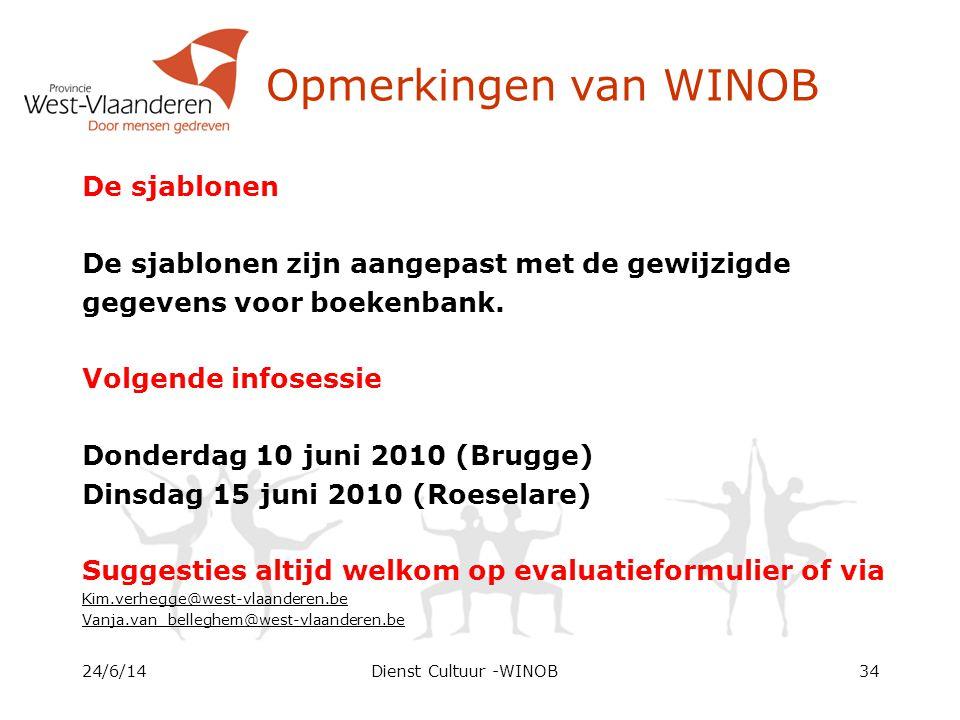 Opmerkingen van WINOB De sjablonen De sjablonen zijn aangepast met de gewijzigde gegevens voor boekenbank.