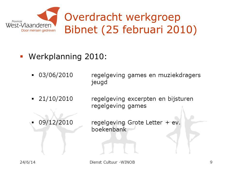 Overdracht werkgroep Bibnet (25 februari 2010)  Werkplanning 2010:  03/06/2010 regelgeving games en muziekdragers jeugd  21/10/2010 regelgeving excerpten en bijsturen regelgeving games  09/12/2010 regelgeving Grote Letter + ev.