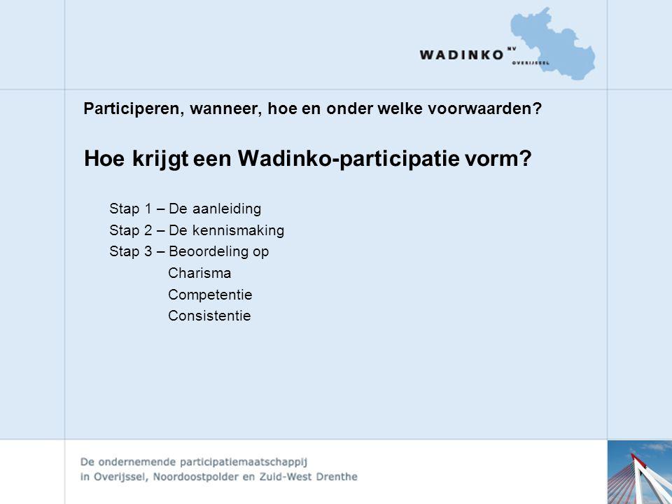 Hoe krijgt een Wadinko-participatie vorm.