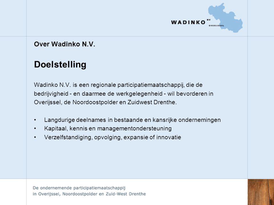 Over Wadinko N.V.Doelstelling Wadinko N.V.