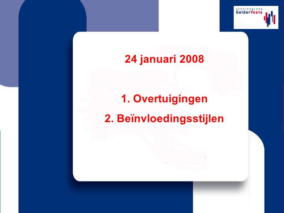 24 januari 2008 1. Overtuigingen 2. Beïnvloedingsstijlen