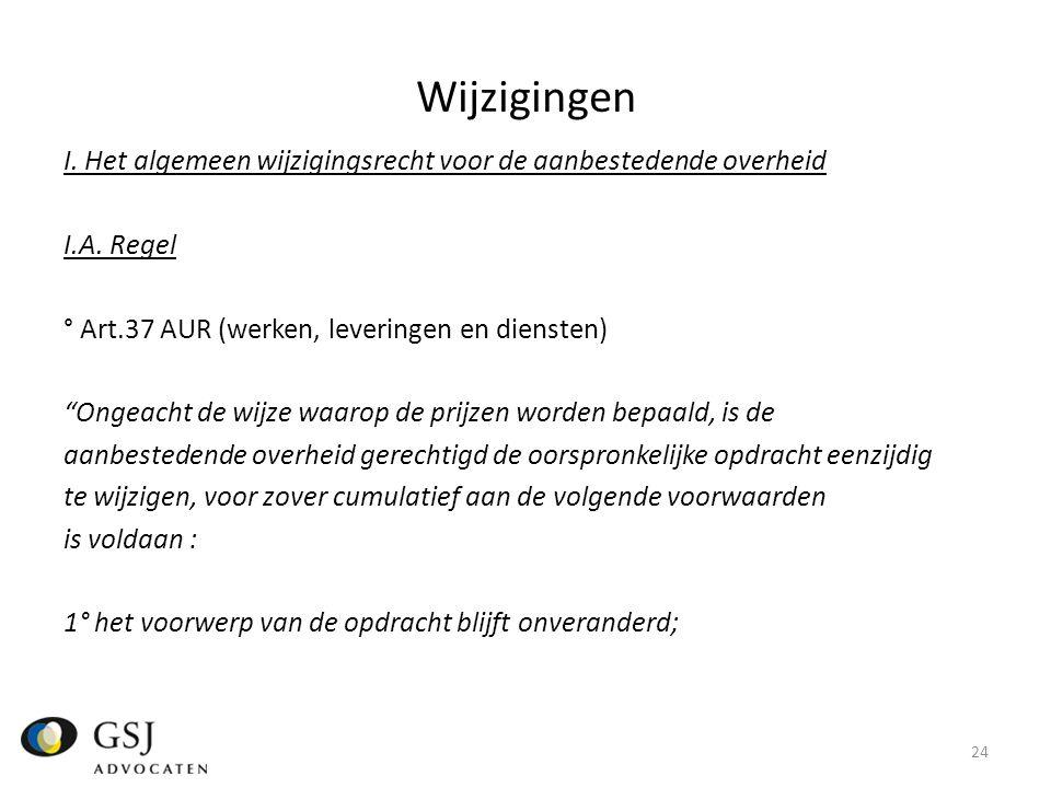 Wijzigingen I.Het algemeen wijzigingsrecht voor de aanbestedende overheid I.A.