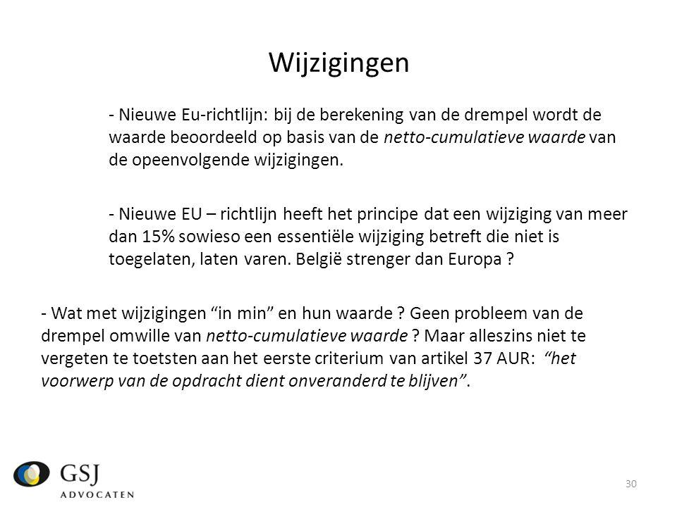 Wijzigingen - Nieuwe Eu-richtlijn: bij de berekening van de drempel wordt de waarde beoordeeld op basis van de netto-cumulatieve waarde van de opeenvolgende wijzigingen.