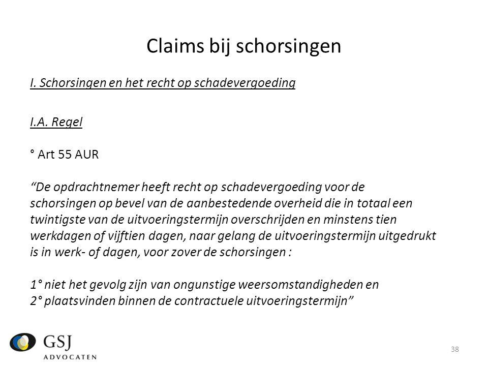 Claims bij schorsingen I.Schorsingen en het recht op schadevergoeding I.A.